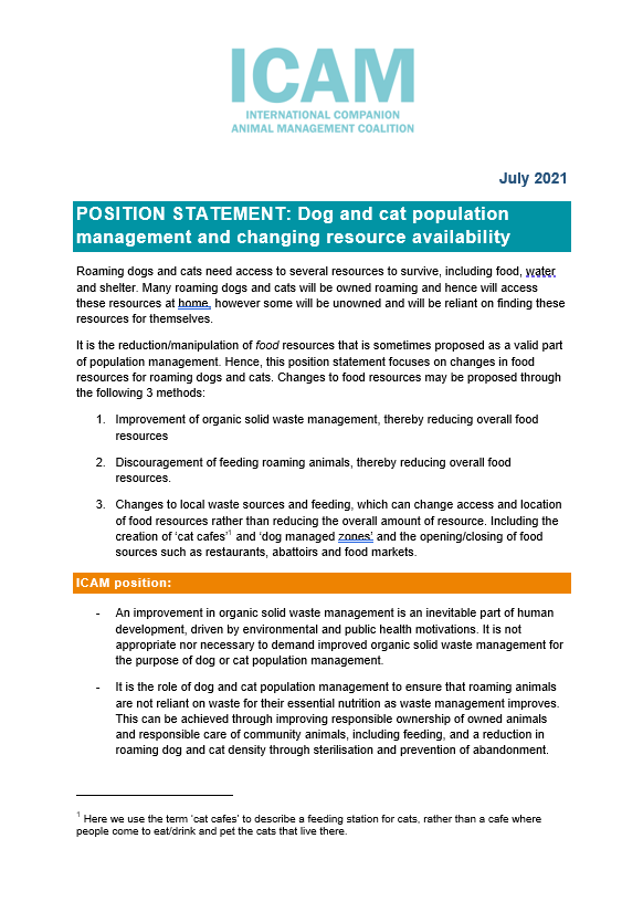 ICAM position statement: Dog and cat population management and changing resource availability